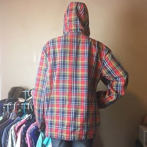 Use Me Plaid Hoodie XL Jacket Red Blue Yellow